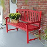 Cheap Coral Coast Pleasant Bay 5 ft. Slat Curved Back Outdoor Wood Bench Red