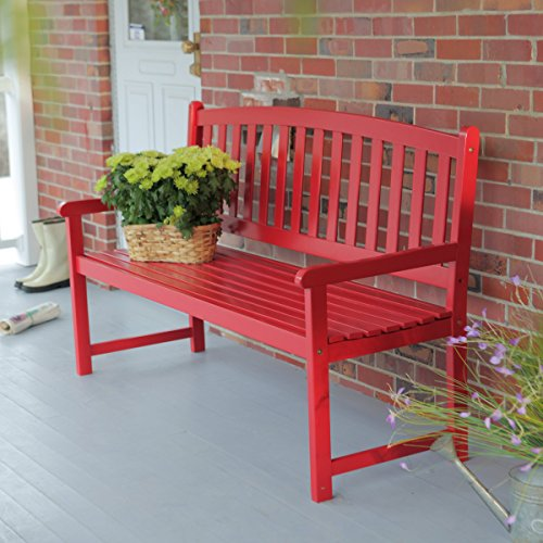 Bench Slat Back (Coral Coast Pleasant Bay 5 ft. Slat Curved Back Outdoor Wood Bench Red)
