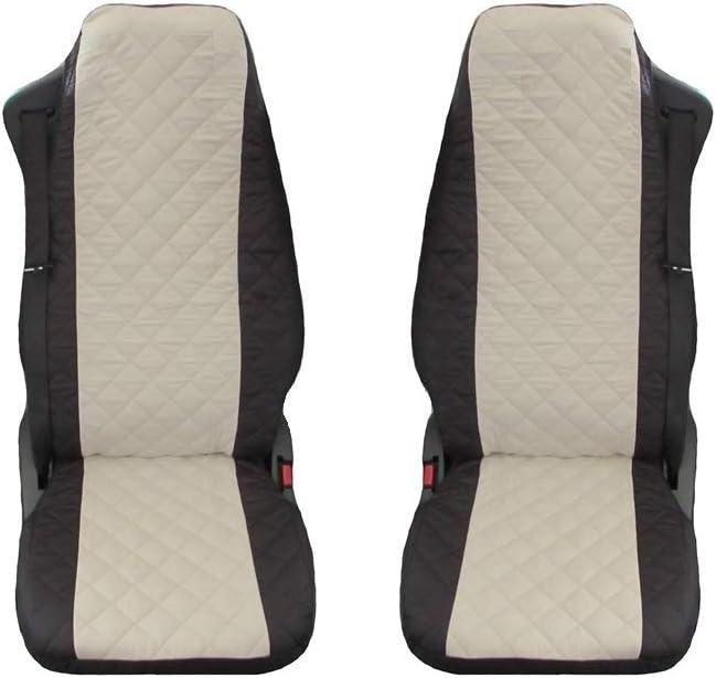 Unknow Sitzbezüge Passend Für Lkw Scania 4 Serie R Schwarz Beige 1 Für Den Fahrer Und 1 Für Den Beifahrersitz Auto