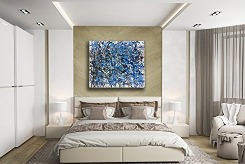 Hand-painting oil based Jackson Pollock style Blue theme stretched canvas 3 pieces Luxury home office art - Iii Stretched Canvas