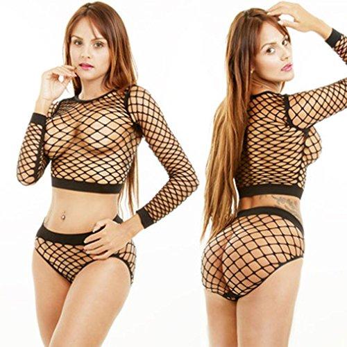 DOINSHOP Lingerie Sets, 1Set Women Sexy Underwear Mesh Transparent Hollow Long Sleeve (Free Size, Black O-Neck)