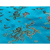 Chinese Faux Silk Dragon Peacock Brocade Satin Fabric Sold By The Yard (Turquoise)