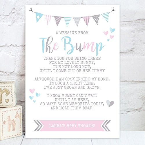 Personalised Baby Shower A Message From The Bump Poem Table Sign – Baby Shower Message