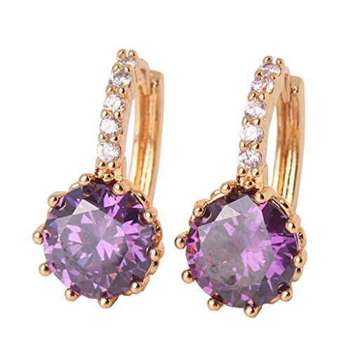 GULICX Cubic Zirconia Yellow Gold Tone Round Created Amethyst Purple Stone Hoop Earrings