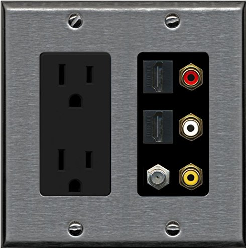 Rca Black Plate - RiteAV - 2 x 15 Amp 125V Power Outlet 3 x RCA - 2 X HDMI and 1 x Coax Cable TV Port Wall Plate - Stainless/Black