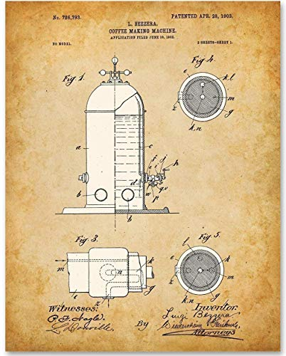 Espresso Machine - 11x14 Unframed Patent Print - Makes a Great Gift Under $15 for Baristas and Coffee Shop Decor ()