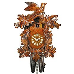 Original German Cuckoo-Clock (Certified), Mechanical 8-Day Movement with 3 Birds and 7 Leaves, Coo-coo Clocks from The Black-Forest, Germany