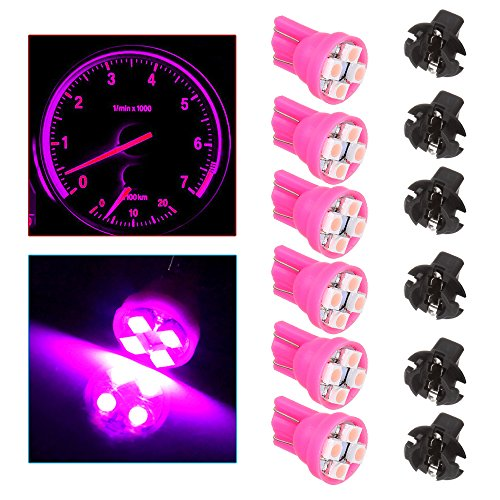 cciyu T10 194 Pink 4-3528-SMD LED Bulbs With Twist Lock Sockets Instrument Panel Speedometer Odometer Temp Gauges Lighting Indicators Lamp (Total of 12 Pcs)