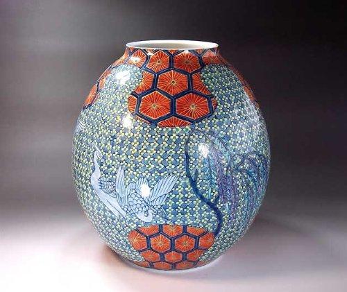 有田焼伊万里焼|花瓶陶器花器壺|贈答品|高級ギフト|記念品|贈り物|亀甲文様藤井錦彩 B00HQ5LMQI
