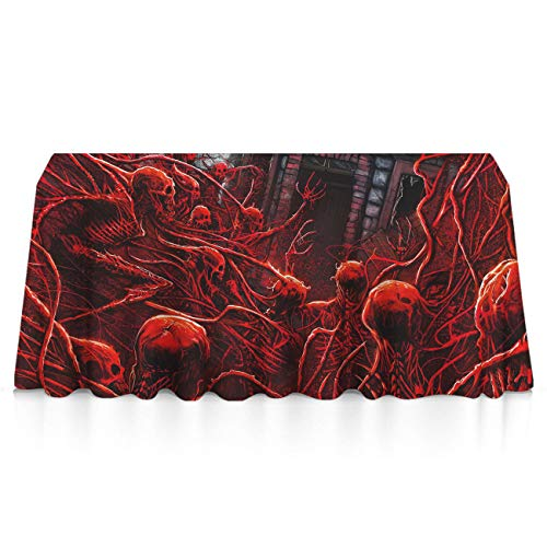 GLORY ART Rectangle Tablecloth - Halloween Skeleton Skull Red - Waterproof Washable Polyester Fabric Table Cloth Cover for 8 Foot Table for Dinner/Decor/Banquet/Restaurant/Indoor/Outdoor((60