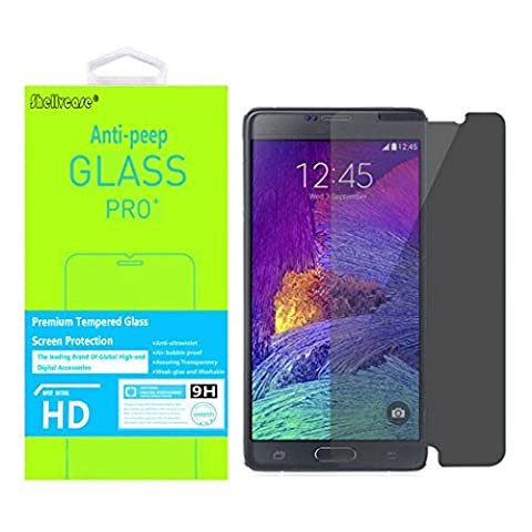 Shellvcase® Privacy Screen Protector for Galaxy Note 4,Ballistic Tempered Glass Anti-peep 2.5D 9H Hardness Ultra Slim Film for Samsung Galaxy Note (Glass Privacy Screen For Note 4)