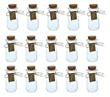 Clear Glass Bottles with Cork Lids- 15-Pack Mini Transparent Milk Jars with Stoppers for Vintage Wedding Decoration, DIY, Home, Party Favors, 2.7-Ounce