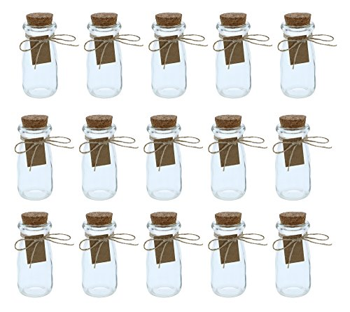 Clear Glass Bottles with Cork Lids- 15-Pack Mini Transparent Milk Jars with Stoppers for Vintage Wedding Decoration, DIY, Home, Party Favors, 2.7-Ounce (Milk Glass Stones)
