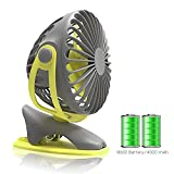 Gontar Clip-on Stroller Fan 4000 mAh Rechargeable Lithium Battery & USB Cable 360°Rotation Adjustable Speed-Operated Accessory for Baby, Car Seat, Gym, Travel, Treadmill