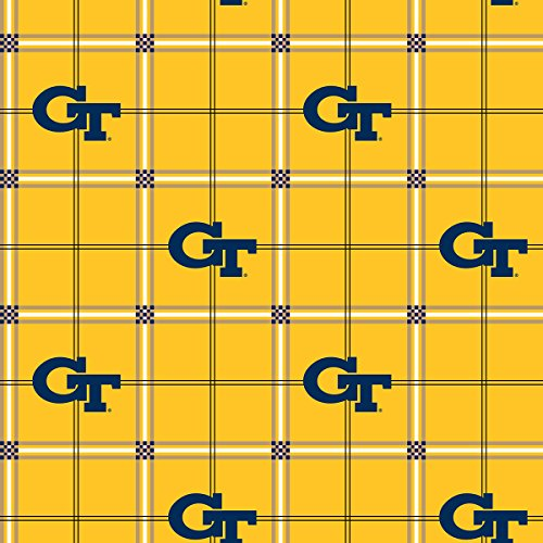 (GEORGIA TECH FLANNEL FABRIC-GEORGIA TECH YELLOW JACKETS FLANNEL FABRIC SOLD BY THE YARD )