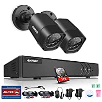 Annke 4CH 1080P Lite DVR Security Camera System 1TB HDD and (2) HD 1280TVL Weatherproof CCTV Cameras, HDMI 1080P Output, NO HDD