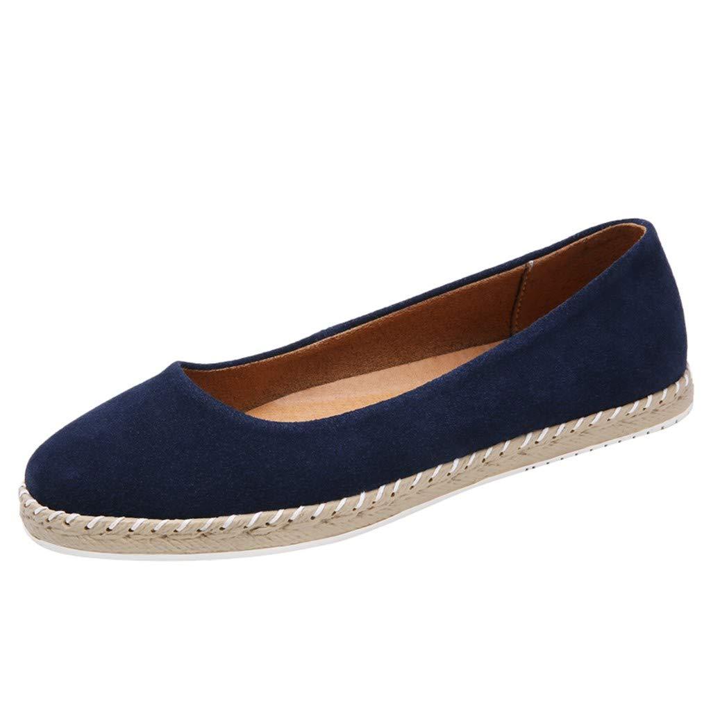 Shusuen Womens Classic Pointy Toe Ballerina Ballet Flat Shoes Flexpadrille Wedge Comfort Sneakers Dark Blue by Shusuen_shoes