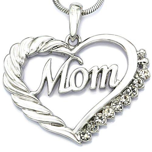 Clear Heart Necklace (Clear Mom Heart Necklace Love Pendant Charm for Mother's Day Gift Jewelry)