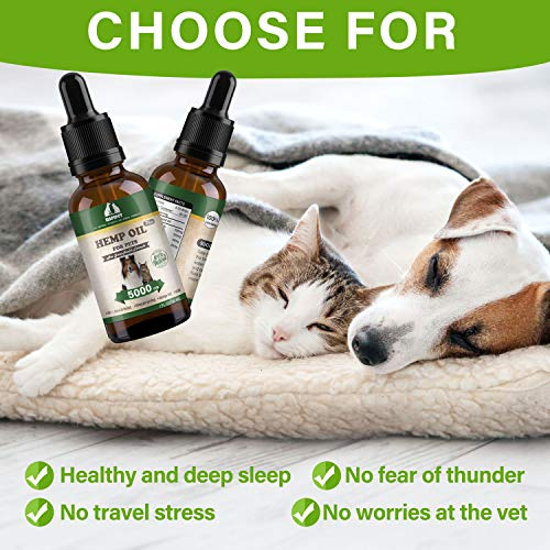 51X7DfpnKlL - HAPIPET Hemp Oil for Dogs Cats Pets,100% Pet Hemp Oil, 5000MG for Hemp Oil Stress Sleep Aid, Supports Hip & Joint Health, Grown & Made in USA-Omega 3, 6 & 9