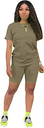 Womens Casual 2 Piece Short Sleeve Outfits Sets Summer T-Shirts Shorts Jogger Bodycon Sets Suits with Pocket
