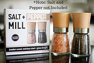 Willow Everett Salt And Pepper Shakers Wood Salt And Pepper Grinder Set With Adjustable Coarseness Salt And Pepper Mill Pair Spice Grinder By