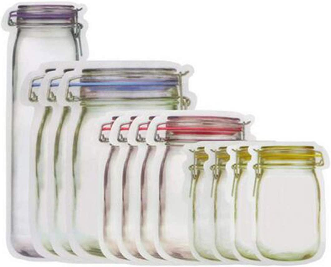 20Pcs Reusable Mason Jar Bottles Bags Nuts Candy Cookies Bag Seal Fresh Food Storage Bag Snacks Zipper Sealed Kitchen Organizer (20)