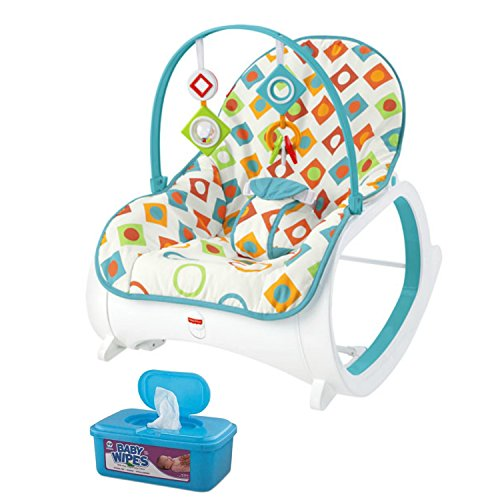 Fisher Price Infant-to-Toddler Rocker, Geo Diamonds Plus BONUS Hypoallergenic, Unscented Baby Wipes, 128 (Tricycle Fold 2 Go Trike)