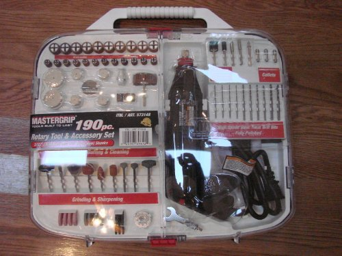 Mastergrip 190pc Rotary Tool and Accessory Set - 3/32