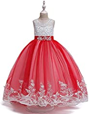 MetCuento Girls lace Bridesmaid Dress Long A-line Wedding Party Dress Tulle Party Dress Age 4-12 Years Old