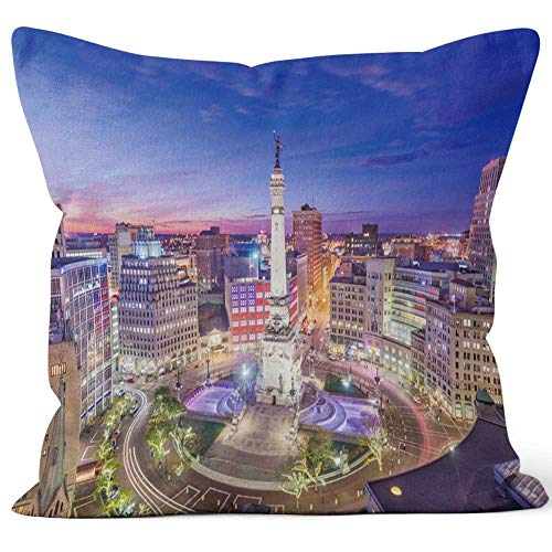 (Nine City Indianapolis Throw Pillow Cushion Cover,HD Printing Decorative Square Accent Pillow Case )