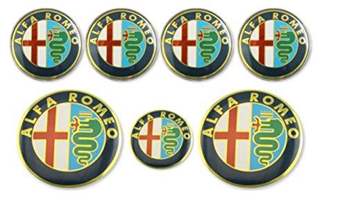 kil1 7pcs ALFA Romeo Car Badge Stickers 74mm Hood/Rear+60mm Wheel+40mm Steering Wheel