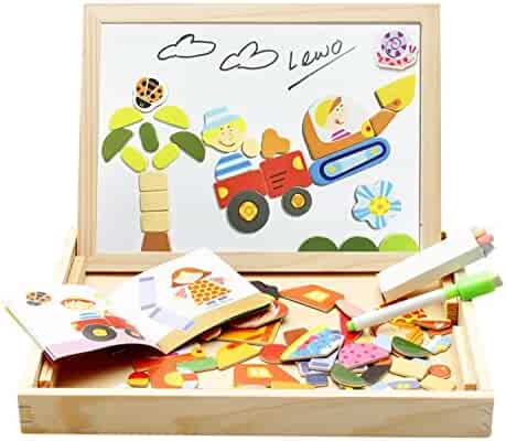 Lewo Girls Boys Toys Magnetic Easel Wooden Double-face Dry Erase Board Puzzle Games for Kids