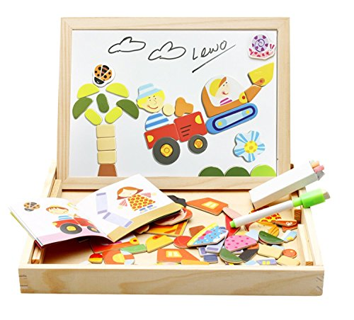 Lewo Girls Boys Toys Magnetic Easel Wooden Double-face Dry E