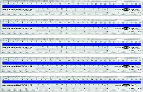 12 inch / 30 cm Magnetic Plastic Transparent Ruler - Pack of 5 by YOSOGO