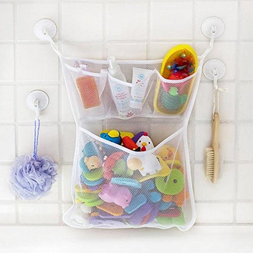TastyHome Quick Dry Hanging Bath Organizer Storage Mesh Bag with 4-pocket 2 Bonus Suction Cups Hook Small - 1 Piece Drain Pouch