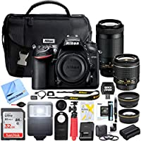 Nikon D7200 24.2 MP Dual Zoom Lens Kit DSLR Camera with AF-P DX 18-55mm f/3.5-5.6G VR & AF-P DX 70-300mm f/4.5-6.3G ED Lens and Deluxe Extended Memory Flash Bundle