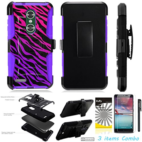 For ZTE MAX XL N9560 /3Items [Clear LCD Film]+Stylus Pen+[Impact Resistance] Dual Layer [Belt Clip] Holster Combo [KickStand] Phone Case Pink Purple Zebra - - Case Purple Lcd