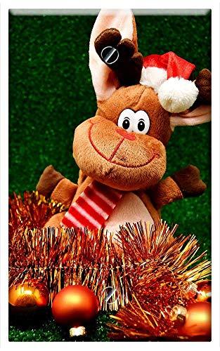 - Single-Gang Blank Wall Plate Cover - Moose Christmas Christmas Motif Reindeer Winter