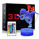3D Night Light for Kids Baby Dinosaur Lamp with Smart Touch Remote Control USB & Battery Powered Night Lights Jurassic Dinosaur Toy Birthday Party Gift(Tyrannosaurus Rex)