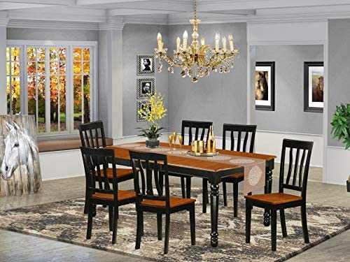 DOAN7-BCH-W 7-Piece table and chair set with one Dover dining room table and 6 dining room chairs in a Black and Cherry Finish