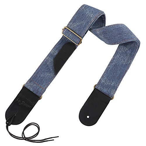 (Mr.Power Denim Guitar Strap Cool Matte Leather End for Electric Acoustic Classical Guitar Bass (Blue))