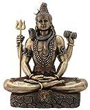 8.5 Inch Cold Cast Bronze Finish Shiva in Padmasana Lotus Pose Statue