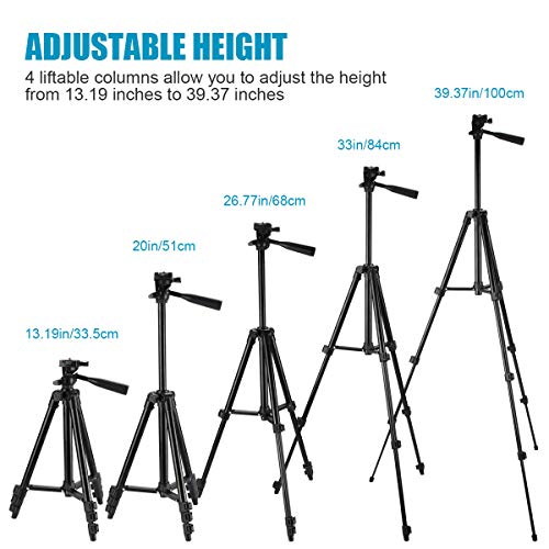 """Phone Tripod, 40"""" Extendable Max Load 6.6Lbs Lightweight Aluminum Travel Video Tripod Stand with Cell Phone Mount Holder & 1/4\"""