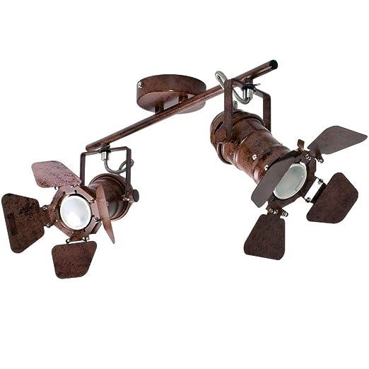 Decken Strahler Wohn Flur  Leuchte Lampe rostfarben Retro Vintage Industrie