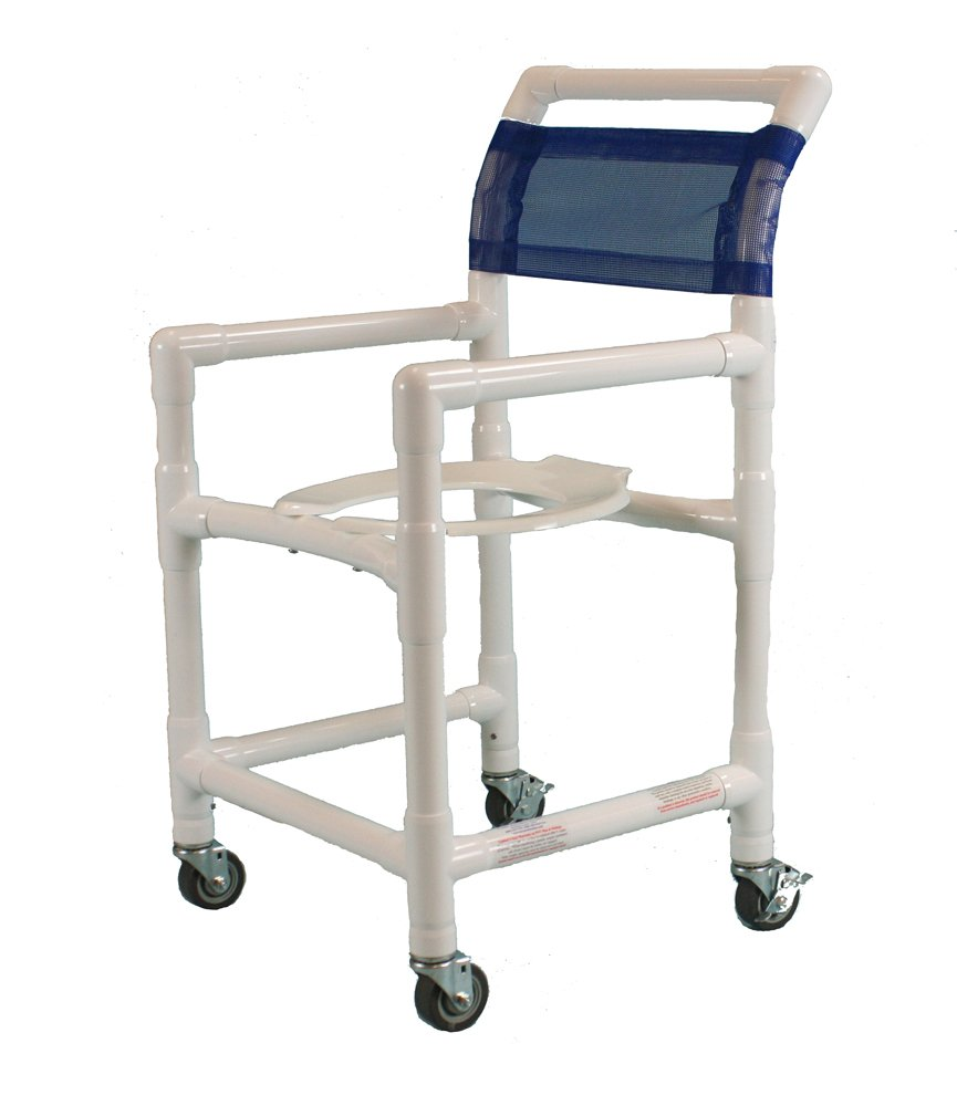 Care Products 550E-RB Standard Shower Chair with 18'' Internal width, 3'' SX Casters, 38'' Height, 18'' width, 21'' Length