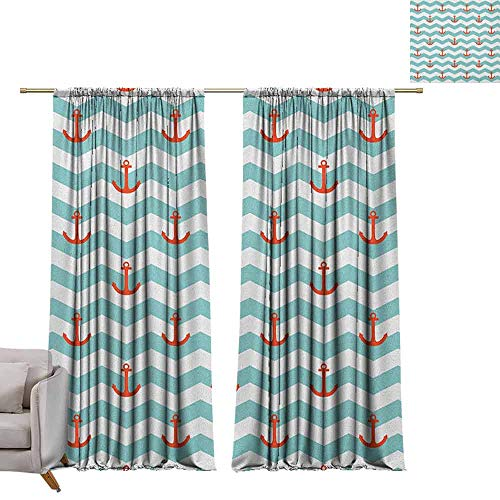 Tiled Buddha Art - Curtains and Drapes Anchor,Simple Pattern Anchor Stripe Artwork Baby Welcoming Wavy Water Tiled Surface, Red Turquoise W72 x L84 Window Drape for Bedroom