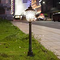 Luz exterior Pedestal Lámpara Vintage Negro Camino Jardín Césped Patio Iluminación Lámpara de pie Retro Lámpara exterior impermeable, E27, Aluminio, Vidrio, 18.5 * 25 * 115CM: Amazon.es: Iluminación