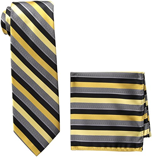 - Pierre Cardin Men's Stripe Tie and Pocket Square, N8147A-Black/Gold, One Size