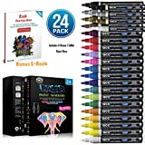 PINTAR Oil Paint Pens (24-Pack) - Vibrant Colors For Rock Painting and Glass Painting - Craft Supplies - Works On Most Surfaces Wood