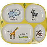 Divided Tray Baby Cie La Jungle: Jungle Yellow Melamine Colorful Melamine Dinnerware with wording